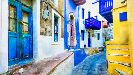 vivid: traditional Greece - charming streets of Nysiros, artistic picture Stock Photo