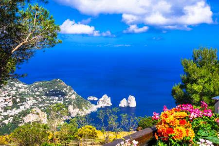 capri: Capri island, view with Faraglioni rocks, Italy