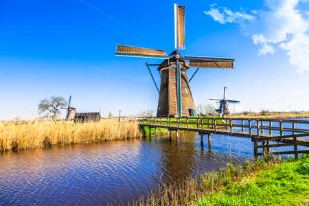 holland: traditional Holland countryside. windmills in Kinderdijk