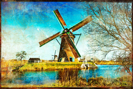 holland: windmills of Holland - artistic retro styled picture