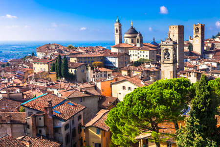 the medieval: view of medieval Bergamo, Italy