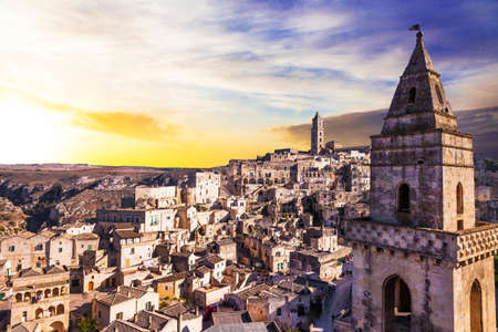 rupestrian: ancient Matera over sunset, Italy