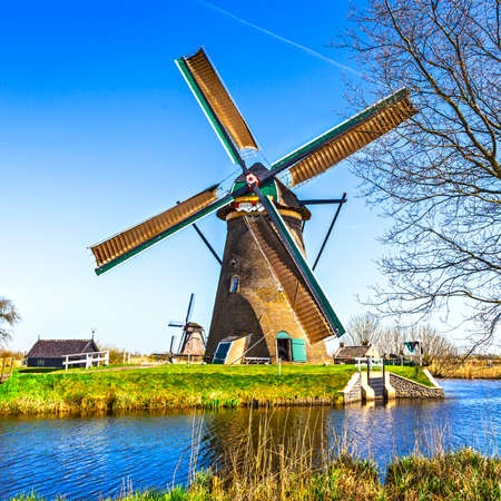 dutch windmill: traditional Holland countryside and windmills. Kinderdijk