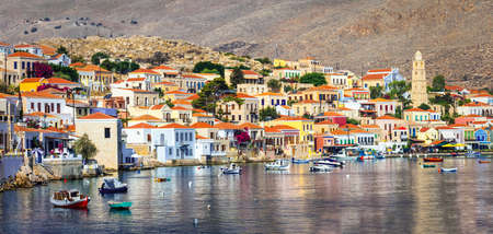 traditional beautiful greek islands - Chalki in Dodecanes