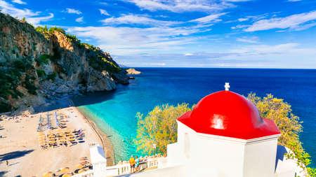 ギリシャ - ペラゴス島カルパトス島の最も美しいビーチ 写真素材