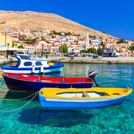 halki: beautiful greek island - Chalki in Dodecanese Stock Photo