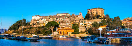 pictorial: pictorial lake Bolsena and village Capodimonte, Italy Editorial