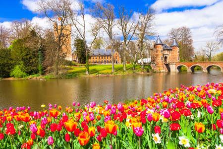 flower garden: Beautiful castles of Belgium - Groot Bijgarden with blooming tulips