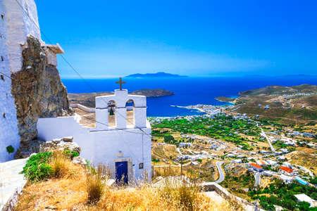 coastlines: Serifos island, view with monastery, Dodecanese, Greece Stock Photo