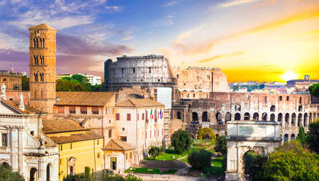 forums: greatest Italian landmarks - Roman forums and Colosseum