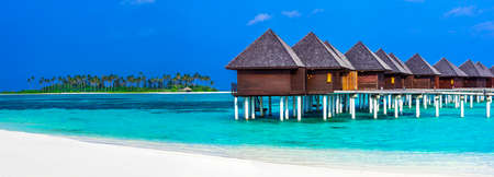 playas tropicales: Complejo de lujo en Maldivas, panorama