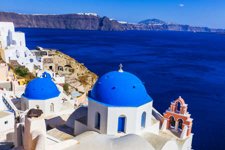 famous white -blue churches of Santorini, Greece