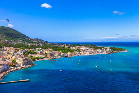 sea beach: view of Ischia island from castle Aragonese, Italy