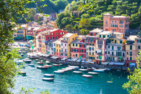 beach panorama: Luxury vacations in Italy - beautiful Portofino in Liguria