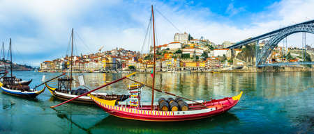 beautiful view of Porto with traditional boats, Portugal