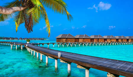 beach panorama: luxury holidays, Maldives, view with water bungalows