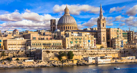 middle ages boat: Malta - beautiful Valletta town panoramic view