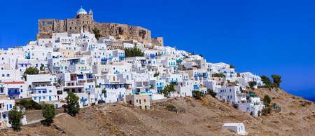 chora: Astypalea island - view of Chora village in castle, Greece