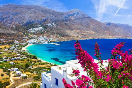 ギリシャの風景 - アモルゴス島、キクラデス諸島を島します。 写真素材
