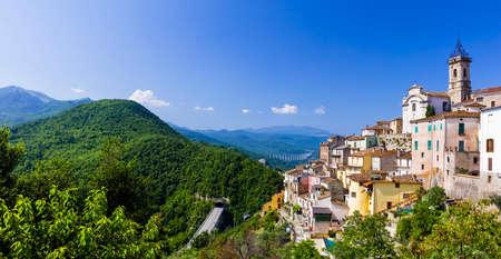 authentic: beautiful medieval villages of Italy - Colledimezzo in Abruzzo Stock Photo