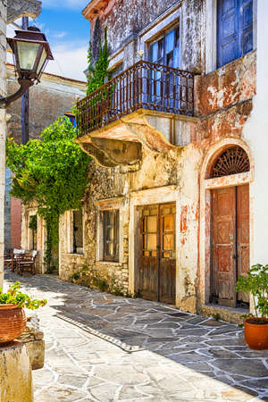 charming old streets of Greek villages, Naxos island Stock Photo
