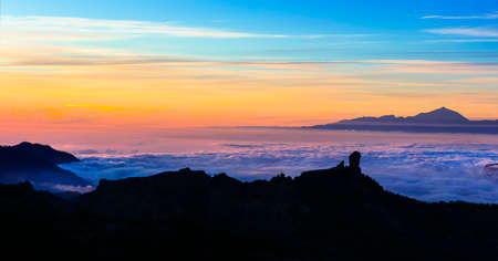 sunset over clouds - impressive mountains of Gran Canaria island, Roque Nublo