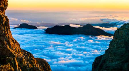 impressive: sunset over clouds - impressive mountains of Gran Canaria island Stock Photo