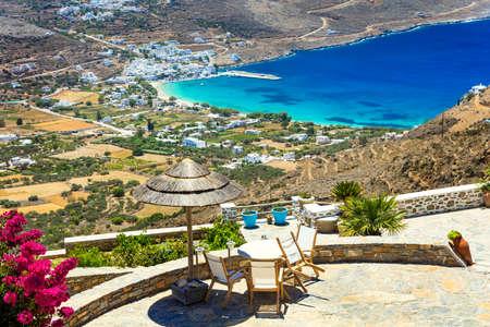 ギリシャ、キクラデス美しいアモルゴス島の休日 写真素材