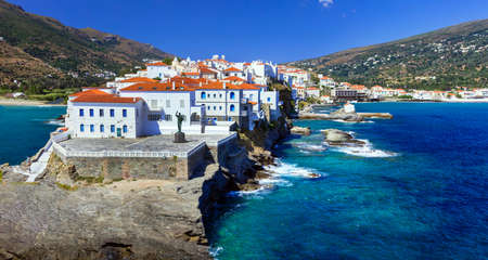 beautiful islands of Greece - Andros, view of Chora Standard-Bild