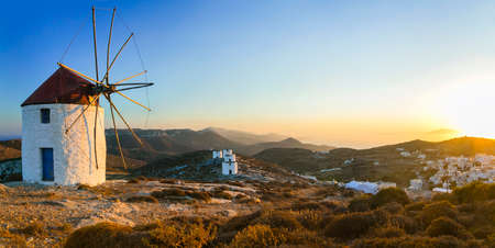 authentic: Traditional authentic Greece - windmills of Amorgos Stock Photo