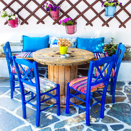 Colors of Greece- Traditional small tavernas and cafe-bars