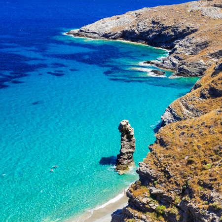 beautiful turquoise beaches of Greece - Tin Grias to pidima in Andros island Stock Photo