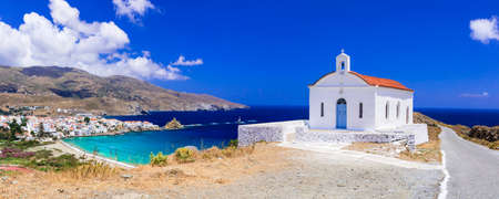 andros: Traditional Greece - panoramic view with small church, Andros island