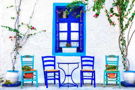 Tavernes traditionnelles de la Grèce, l'île de Kos Banque d'images - 60798243