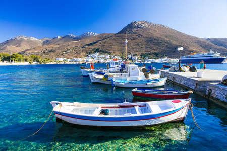 sailingboat: traditional fishing boats in Greece, Amorgos island