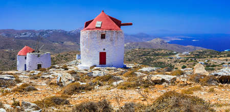 chora: Traditional windmills of Greece- Amorgos, Chora village