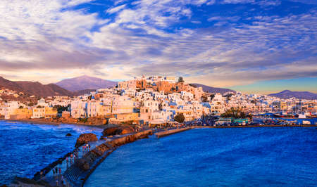 cyclades: Sunset over Naxos. beautiful Greek island, Cyclades Stock Photo
