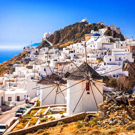 traditional Greece - Seifos island, view of Chora and windmills