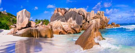 digue: unique granite rocky beaches of Seychelles. La Digue island