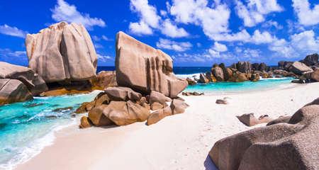 playas tropicales: salvajes playas tropicales pictóricas - anse Marron, La Digue, Seychelles