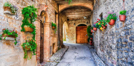 beautiful streets with floral decoration in Spello - medieval village in Italy Standard-Bild
