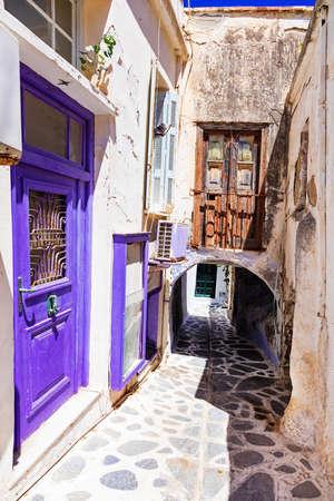 old charming streets of Naxos island, Greece