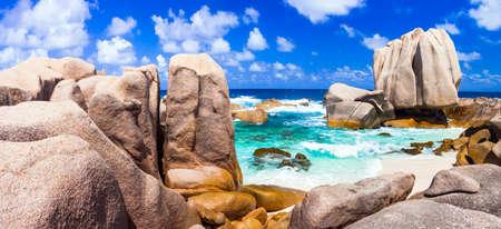 la digue: anseMarron beach - Seychelles, La digue island Stock Photo