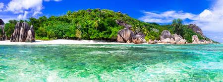 playas tropicales: fuente de Anse d'Argent - Seychelles, La Digue Island