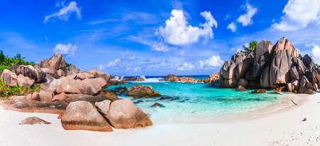 la digue: scenic tropical beaches of Seychelles, La digue island Stock Photo