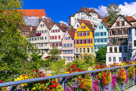 beautiful colorful Tubingen town - Germany Stock Photo