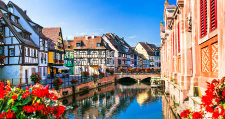 romantic places: romantic places of France - colorful Colmar in Alsace Stock Photo