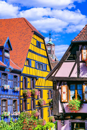 colorful traditional village in Alsace - Riquewihr, France Stock Photo