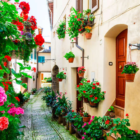 spello: Spello town - famous for floral decoration, Umbria, Italy Stock Photo