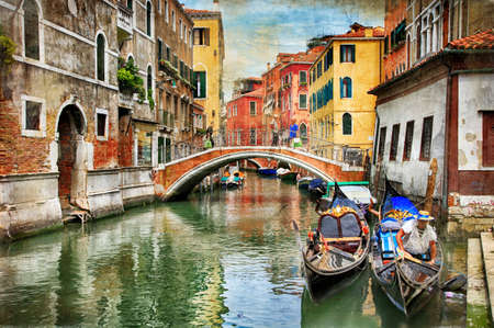 Romantic Venetian castles - artwork in painting style